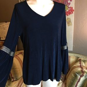 Chico's Travelers Blue Bell Sleeve Blouse Size 1